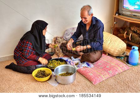 Bandar Abbas Hormozgan Province Iran - 15 april 2017: Elderly Muslim family of two people preparing stuffed grape leaves sitting on a carpet in his home.