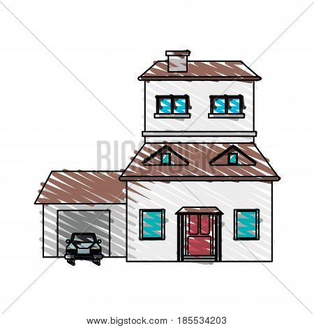 color crayon stripe cartoon facade two house floors with garage and chimney vector illustration