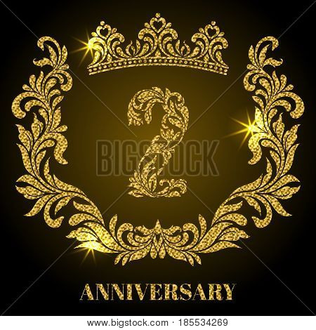 Anniversary Of 2 Years. Digits, Frame And Crown Made In Swirls A