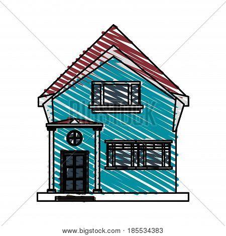 color crayon stripe cartoon facade irregular structure house with modern style vector illustration