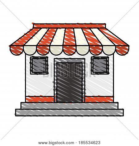 color crayon stripe cartoon facade shop store vector illustration