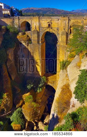 Puente Nuevo New Bridge (from the end of 18th century) over 120 metres deep canyon in Ronda Spain.