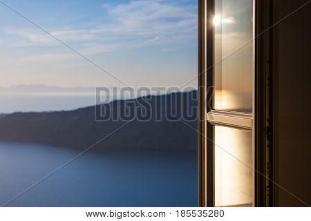 Open Door overlooking Santorini Coastline