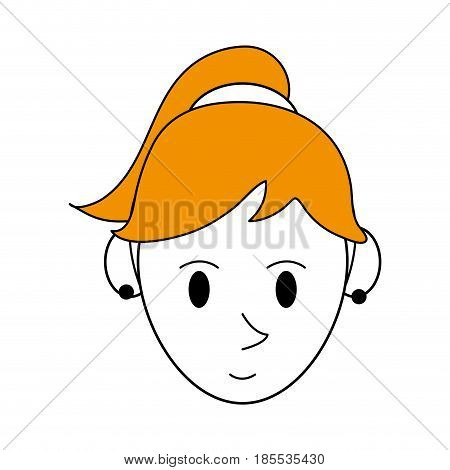 color silhouette cartoon face woman with ponytail hairstyle and bow lace vector illustration