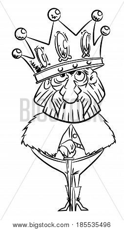 Cartoon image of king with huge crown. An artistic freehand picture.