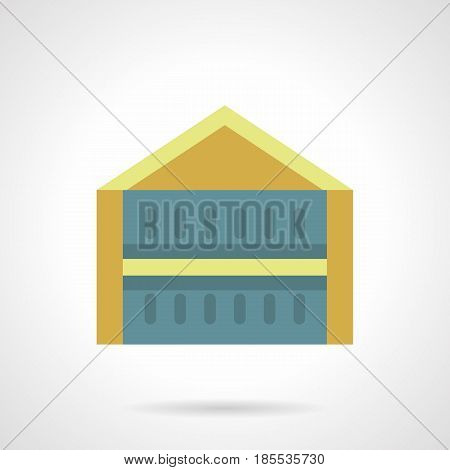 Blue promotional tent with yellow roof. Mobile constructions for commercial events. Flat color style vector icon.