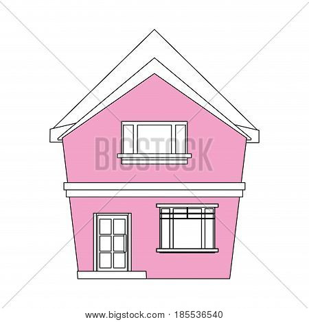 color silhouette cartoon pink facade irregular structure house vector illustration