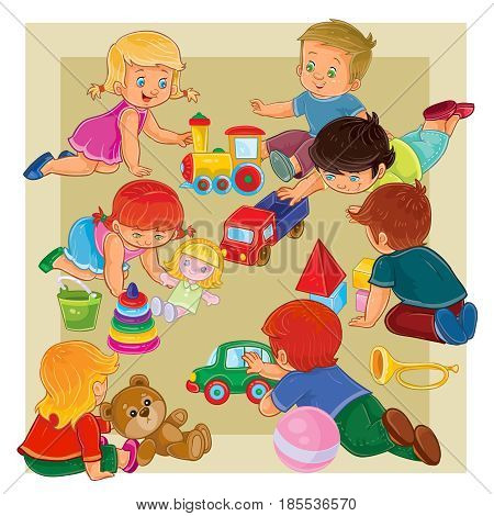 illustration of many young boys and girls sitting on the floor and play with toys