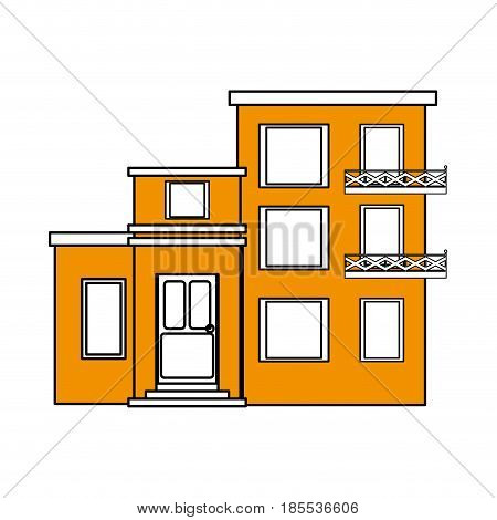 color silhouette cartoon yellow facade comfortable lodgings apartments with several floors vector illustration