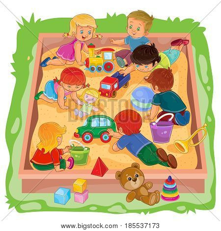 illustration of many young boys and girls sitting in the sandbox, play with their toys
