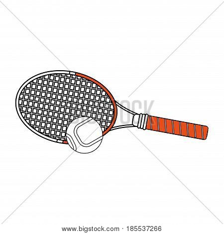 color silhouette cartoon tennis racquet with ball vector illustration