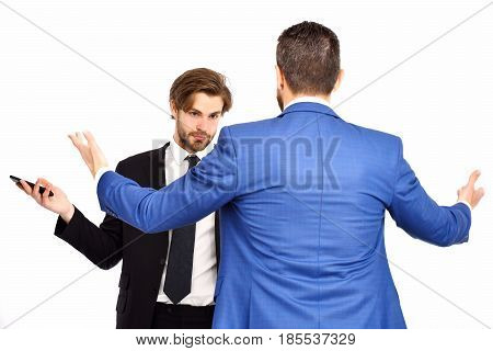 Business Situation, Challenge, Guys Or Businessmen In Suit Hold Phone