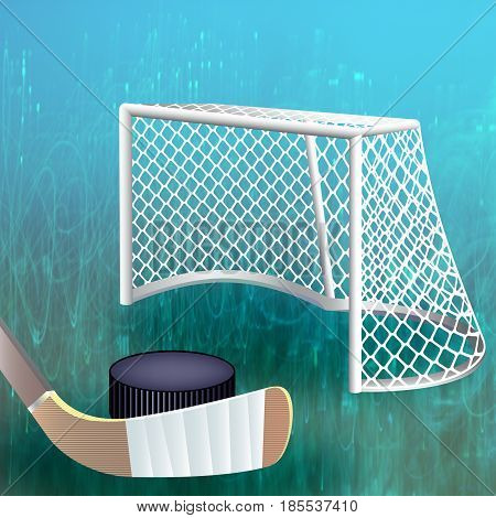 Hockey puck and stick close to goal post.