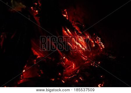 Close up of smoldering sheets of paper for abstract background