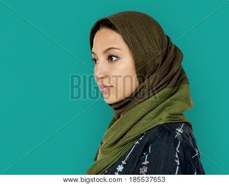 Middle eastern woman casual studio portrait