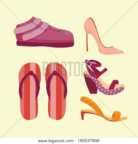 Fashion sandals female with multicolored elements isolated casual summer footwear pair design vector illustration. Vacation flop foot sandal travel rubber symbol.