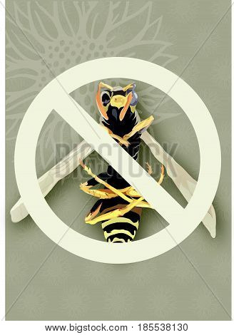 Illustration of a dead wasp under an access denied sign