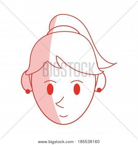 red shading silhouette cartoon face woman with ponytail hairstyle and bow lace vector illustration
