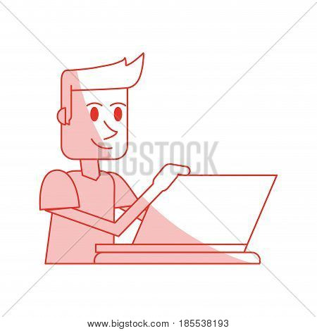 red shading silhouette cartoon side view half body guy with laptop computer vector illustration
