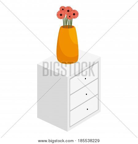 Bedside table with drawers and flowers vase vector illustration design