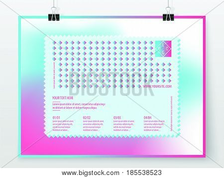 Poster design. Business concept. Holographic banner template. Poster graphic. Promotion cover. Vector flyer mock up. Presentation design for business art or entertainment event.