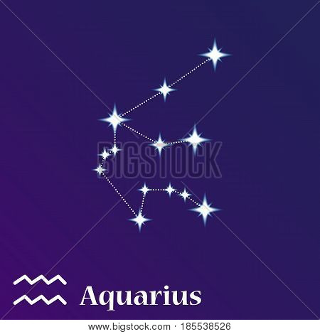 Aquarius Zodiacal Constellation Vector Illustration, Horoscope Symbol, Sign Of The Zodiac