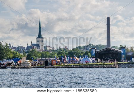 TALLINN, ESTONIA - JULY 16: People are resting on the holiday of the Days of the Sea in Tallinn, Estonia on July 16 2016.