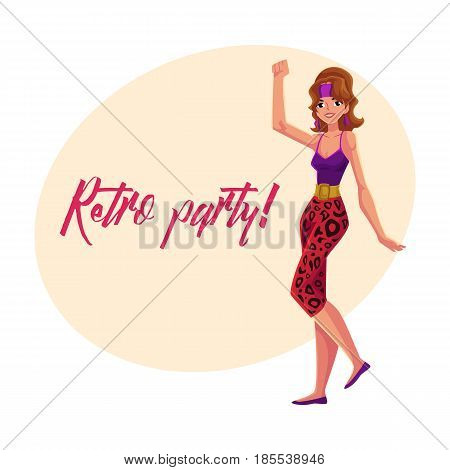 Retro disco party invitation, poster template with girl in 1980s style aerobics outfit, cartoon vector illustration. 80s style retro disco party invitation banner, poster layout with aerobics girl