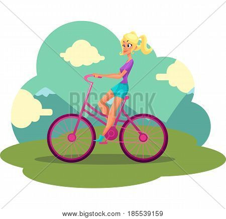 Young pretty blond woman, girl riding pink bicycle, cycling, cartoon vector illustration. Full length side view portrait of pretty blond woman riding pink bicycle, cycling in countryside,