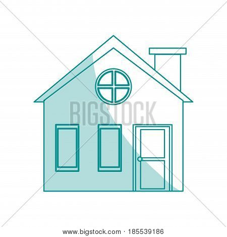 blue shading silhouette cartoon facade village with chimney vector illustration
