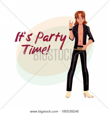Glam rock party invitation, banner poster template with man dressed in leather clothing, cartoon vector illustration. Glam rock party invitation banner, poster layout with rock star man