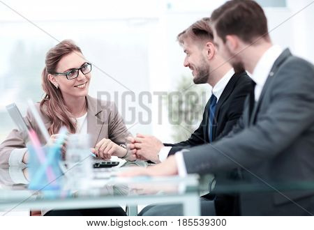 Business meeting. Focus on beautifull business woman