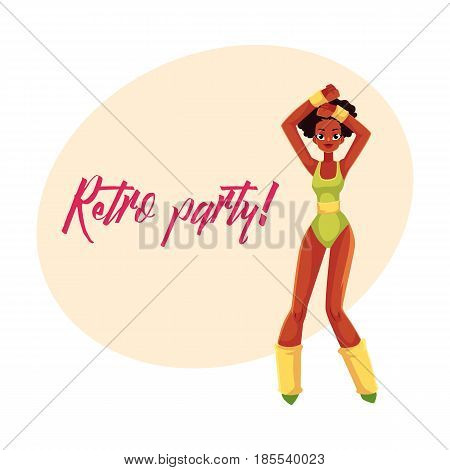 Retro disco party invitation poster template with black girl in 1980s style aerobics outfit, cartoon vector illustration. 80s style retro disco party invitation banner, poster with black aerobics girl
