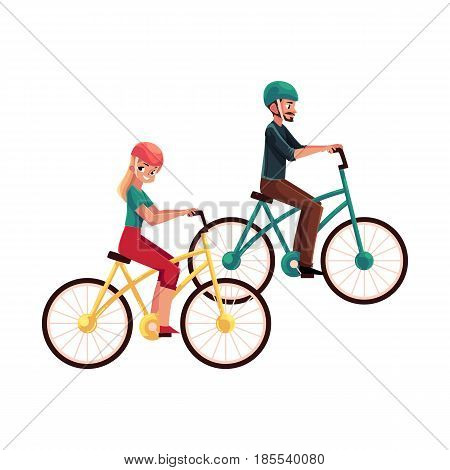 Young couple, man and woman, riding bicycles, cycling in helmets together, cartoon vector illustration isolated on white background. Full length, side view portrait of young couple riding bicycles
