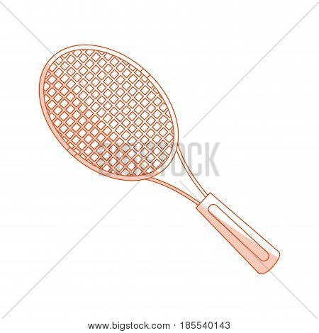 orange shading silhouette cartoon tennis racquet with handle vector illustration