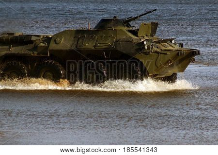 Military Equipment At The Demonstration, The Tank Rides On The Water, Scattering Water Splashes