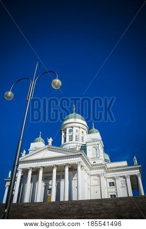 Looking up at Helsinki cathedral in Senate Square