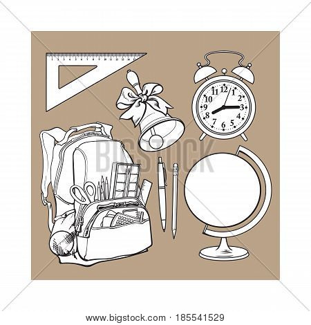Backpack packed with school items, supplies, stationary, alarm clock, globe and bell, sketch vector illustration isolated on brown background. Set of school items - school bag, globe, clock, bell