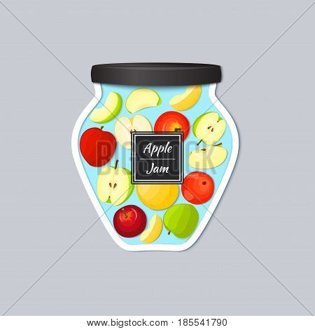 Vector label in the form of a jar with jam with a realistic lid. Apples fruits in a jar. Vector illustration of a fruit sticker for the design of packaging of juice, marmalade, jam, detox diet