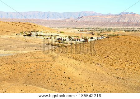 Brown Construction   In    Valley  Morocco         Africa The Atlas Dry Mountain
