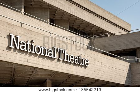 LONDON UK - 6 APRIL 2017: Detail on the signage and Brutalist architecture of the National Theatre one of the UK's most prominent performing arts venues which is part of the South Bank Centre London.