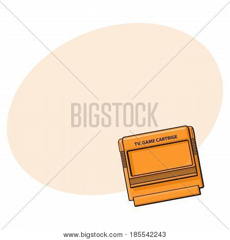 TV game cartridge in plastic orange case from 90s, sketch style, hand drawn illustration with space for text. Realistic hand drawn, sketch style retro, vintage TV game cartridge