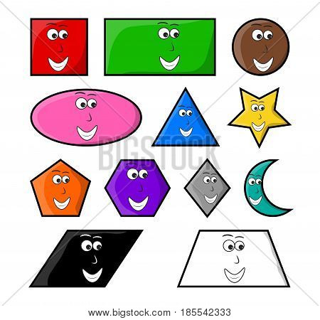 Cartoon Geometric Shapes With Smile Vector Symbol Icon Design.