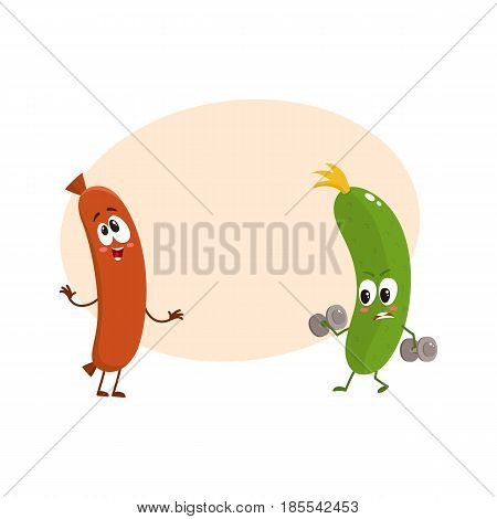 Funny food characters, zuccini versus sausage, healthy lifestyle concept, cartoon vector illustration with space for text. Zuccini doing fitness and laughing sausage characters, mascots