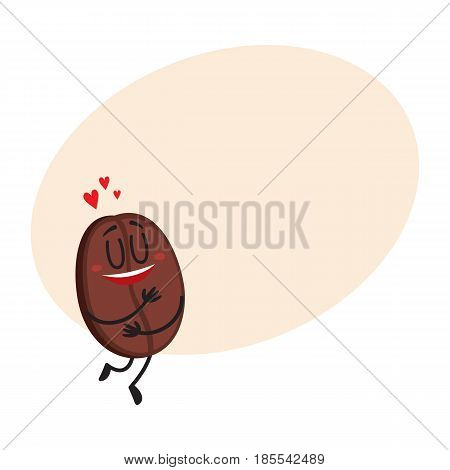 Cute, funny coffee bean character with human face showing love, heart symbols, cartoon vector illustration with space for text. Coffee bean character, mascot, design element, symbol of love