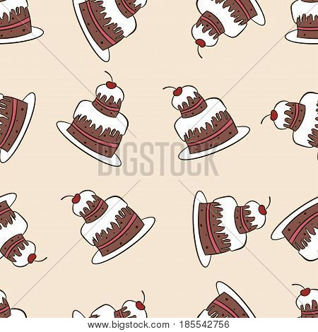 Vintage seamless vector pattern of cakes. Sweet chocolate cake with cream and cherry on beige background. Design concept for fabric, textile printing, wrapping paper or web