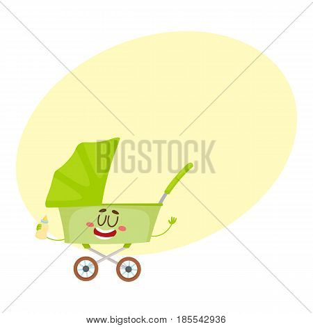Cute and funny baby cart, stroller, buggy, carriage character, infant, newborn accessory, cartoon vector illustration with space for text. Baby cart, pushcart, stroller character, mascot