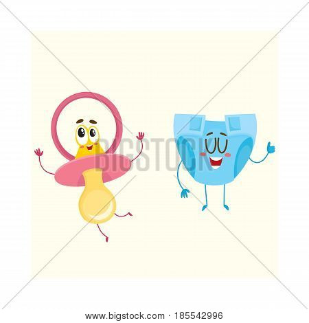 Funny baby dummy, pacifier and diaper, nappy characters, child care concept, cartoon vector illustration isolated on white background. Baby pacifier, dummy and diaper, nappy character, mascot