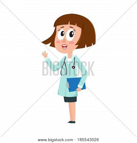 Comic woman doctor character with bob haircut holding clipboard, waving hand, cartoon vector illustration isolated on white background. Full length portrait of funny woman doctor holding clipboard