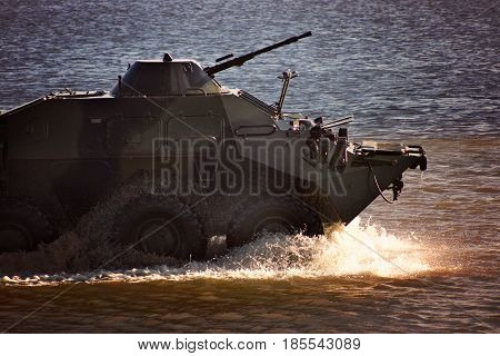 Military Equipment At The Demonstration, The Tank Rides On The Water